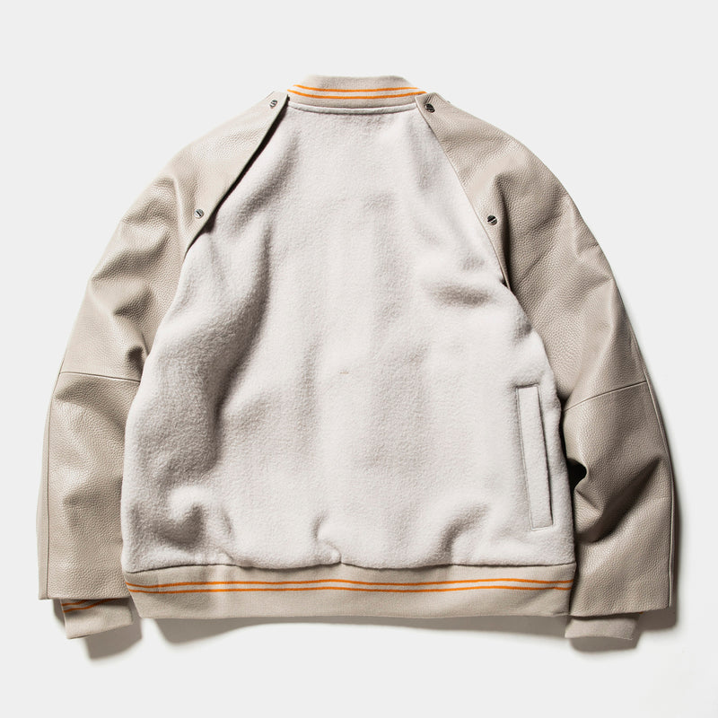 Retro Fleece Melton Varsity Jackets(G.White)/MW-JKT20210