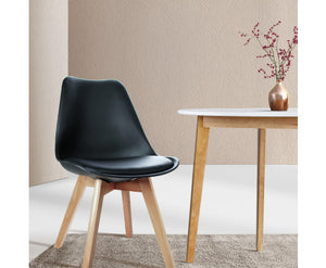 Shane Set of 2 Padded PU Leather Dining Chair (Black)
