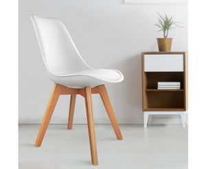 Shane Set of 2 Padded PU Leather Dining Chair (White) [EST. RESTOCK TBA]