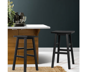 Edwards Bar Stools x 2 (BLACK TIMBER) [EST. RESTOCK 23/12/20]