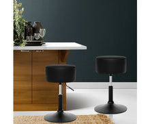 Load image into Gallery viewer, Aitkin Lift Bar Stools x 2 (Black & Chrome + Extra Thick Pad)