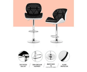 Phillips Bar Stools - PU Leather  (Black on White) & Chrome x 2 [EST. RESTOCK 25/10/20]