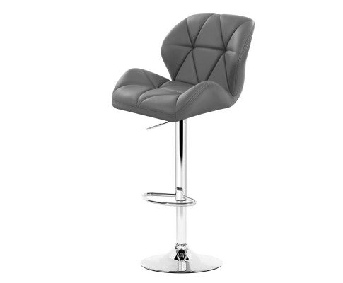 Phillips Bar Stools (Grey) PU Leather  & Chrome x 2 [EST. RESTOCK 05/11/20]