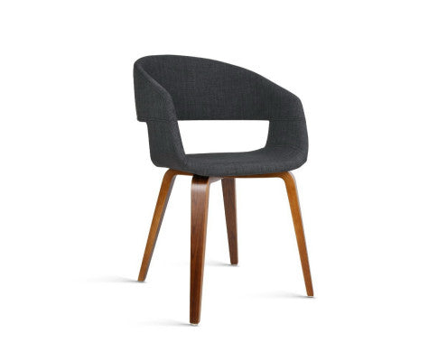 Amara Dining Chairs x 2 (Timber & Faux Dark Charcoal Fabric) [EST. RESTOCK 25 /11 / 20]