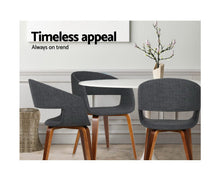 Load image into Gallery viewer, Amara Dining Chairs x 2 (Timber & Faux Dark Charcoal Fabric) [EST. RESTOCK 25 /11 / 20]