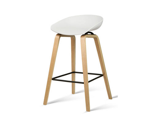 Elvis Bar Stools x 2 (White & Timber)