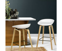 Load image into Gallery viewer, Elvis Bar Stools x 2 (White & Timber)