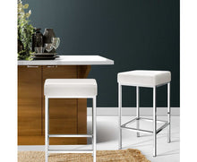 Load image into Gallery viewer, Reed Bar Stools x 2 (White / Chrome)