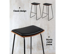 Load image into Gallery viewer, Warners Barstool - PU Leather (Black) & Timber x 2 [EST. RESTOCK 03/11/20]