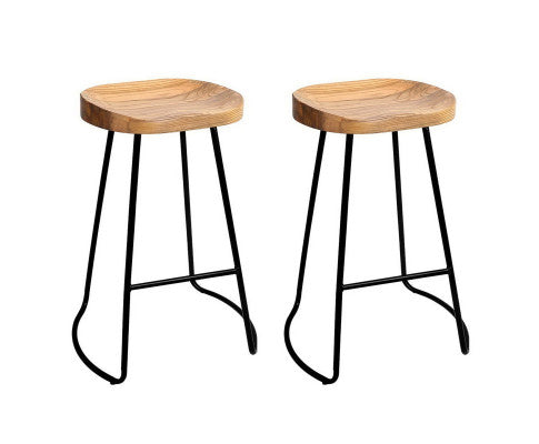 Noah Bar Stools 'LOW' x 2 (Black & Lt. Timber)