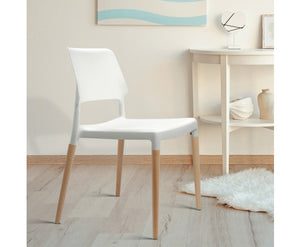Dianne x 4 Wooden Stackable Dining Chairs (White PP)