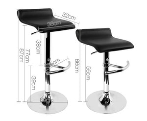 Morrison Bar Stools - PU Leather (Black) & Chrome  x 2