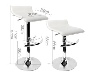 Morrison Bar Stools - PU Leather (White) & Chrome x 2 [EST. RESTOCK 27/10/20]