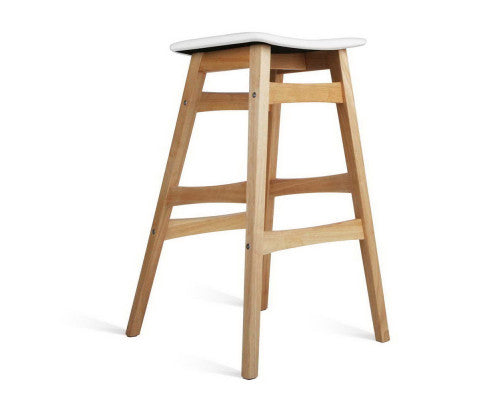 Powell Bar Stools - Padded PU Leather (White) - x 2