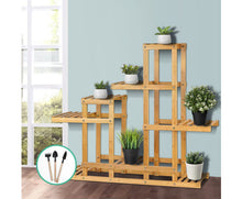 Load image into Gallery viewer, Felisa Plant Stand - Multi level / wide Bamboo Display & Plant Stand (Natural)