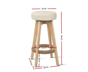 Leo 2 x Kitchen Bar Stools Wooden, Swivel 74cm Leather Cream