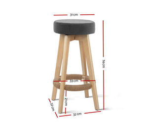Leo 2 x Kitchen Bar Stools Wooden, Swivel 74cm Fabric Grey * $PECIAL