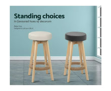 Load image into Gallery viewer, Leo 2 x Kitchen Bar Stools Wooden, Swivel 74cm Fabric Grey * $PECIAL