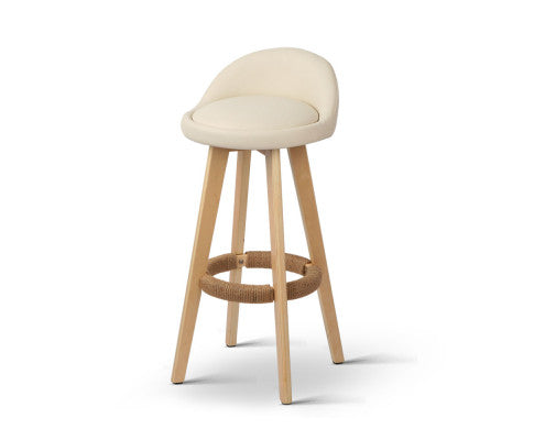Paul Bar Stools (Creamy Beige 'tones vary' & Timber) x 2 [EST. RESTOCK 30/10/20]