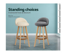 Load image into Gallery viewer, Paul Bar Stools (Creamy Beige 'tones vary' & Timber) x 2 [EST. RESTOCK 30/10/20]