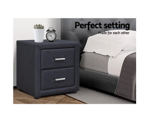 Wyatt PVC Leather Bedside Table (Charcoal)
