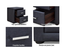 Load image into Gallery viewer, Wyatt PVC Leather Bedside Table (Charcoal)