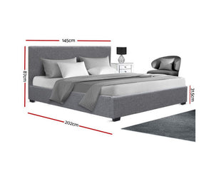 Theo Double Size Gas Lift Bed Frame Base With Storage Fabric (Grey)