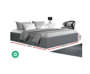 Thor Queen Size Gas Lift Bed Frame Base with Storage Platform Fabric (Grey) {No Mattress}