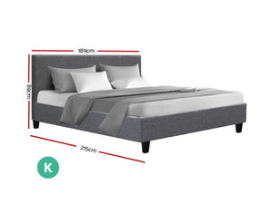 Jake Bed Frame KING Size Fabric/Wooden (Grey) {No Mattress} [EST. RESTOCK 27/11/20]