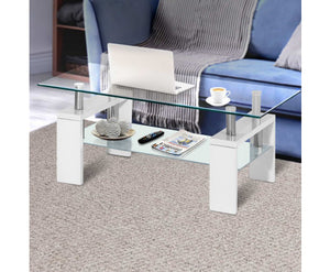 Max Two-tier Glass Coffee Table (White) [EST. RESTOCK 09/11/20]