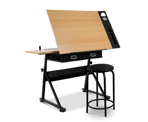 Garth Tilt Drafting Table Stool Set (Natural & Black) [EST. RESTOCK  18/11/20]
