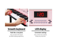 Load image into Gallery viewer, Alpha (Pink) Electric 61 Key LED Lit  Organ / Piano + Holder / Stand