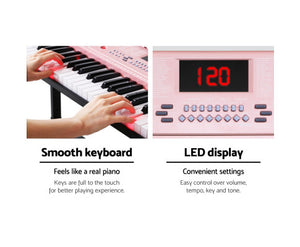 Alpha (Pink) Electric 61 Key LED Lit  Organ / Piano + Holder / Stand