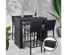 Load image into Gallery viewer, Bob 5 PC PE Wicker Dine/Bar Table & 4 X Stools Set (Black & Grey) [EST. RESTOCK 08/11/20]