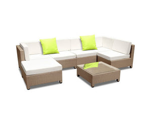 Byron 7PC Sofa  Lounge Setting Wicker (Brown/Grey+Lime Cushions) [EST. RESTOCK TBA]