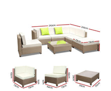 Load image into Gallery viewer, Byron 7PC Sofa  Lounge Setting Wicker (Brown/Grey+Lime Cushions) [EST. RESTOCK TBA]