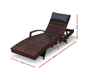 Hamilton Outdoor Daybed Wicker Lounge (Brown) + (Black) Pillow