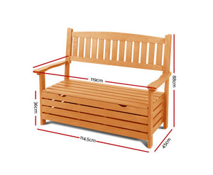 Fred 2 Seat Wooden Outdoor Storage Bench (Natural)