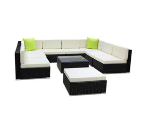Byron 10 PC Sofa Set Outdoor Furniture Lounge Setting Wicker (Black/Beige+Lime Cushions)