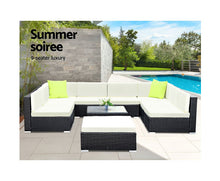 Load image into Gallery viewer, Byron 10 PC Sofa Set Outdoor Furniture Lounge Setting Wicker (Black/Beige+Lime Cushions)