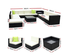 Load image into Gallery viewer, Byron 13 PC Sofa Lounge Setting Wicker (Black/Beige+Lime Cushions)