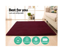 Load image into Gallery viewer, FLF Ultra Soft Shaggy Floor Rug - Carpet 200cm x 230cm (Burgundy)