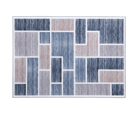 FLF Floor Rugs 200 x 290 Short Pile (Grey/Beige/Blue)