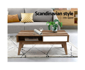 Sven Coffee Table (Wooden + White)