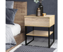 Load image into Gallery viewer, Shaz Chest Style Metal Bedside Table (Veneer Wood)