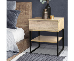 Shaz Chest Style Metal Bedside Table (Veneer Wood)