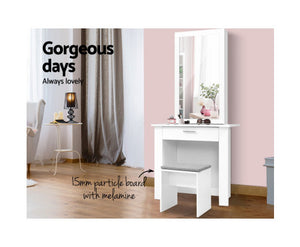 Suzi Dressing Table, Mirror, Cabinet and Stool (White) * $PECIAL