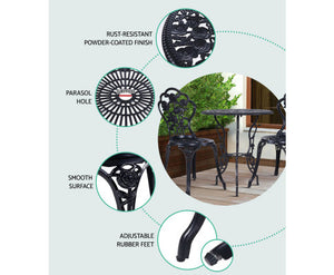 Sunny Patio 3PC Outdoor Setting Cast Aluminium (Black)