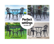 Load image into Gallery viewer, Sunny Patio 3PC Outdoor Setting Cast Aluminium (Black)