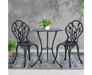 Sunny Patio 3PC Outdoor Setting Aluminium (Black)